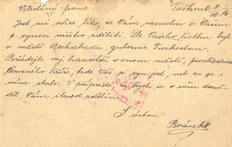 Ukázka korespondence.