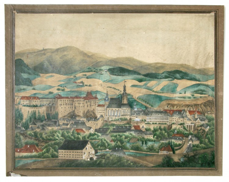 Město od jihu, monogramista K.B.,  kolorovaná rytina, Český Krumlov, 1860