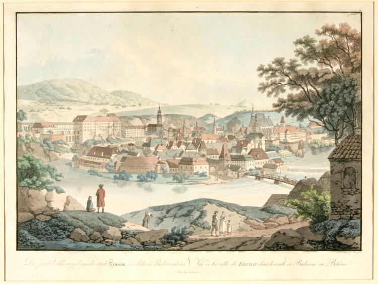 Město od jihozápadu, L. Janscha, rytec C. Postl,  Český Krumlov, 1. pol. 19. století