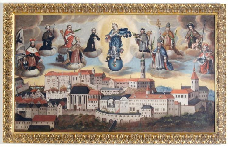 Město pod ochranou svatých patronů, antependium z kaple na Křížové hoře, olejomalba na plátně, Český Krumlov, kol. r. 1700