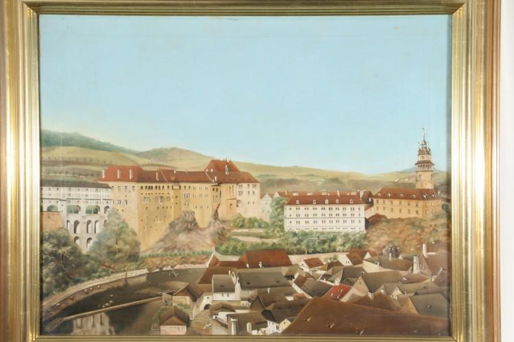 Panorama zámku s Lazebnickým mostem, olejomalba,  Český Krumlov, před r. 1835