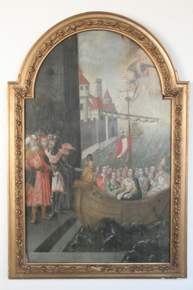 Smrt sv. Uršuly, olejomalba, Český Krumlov, 17. století