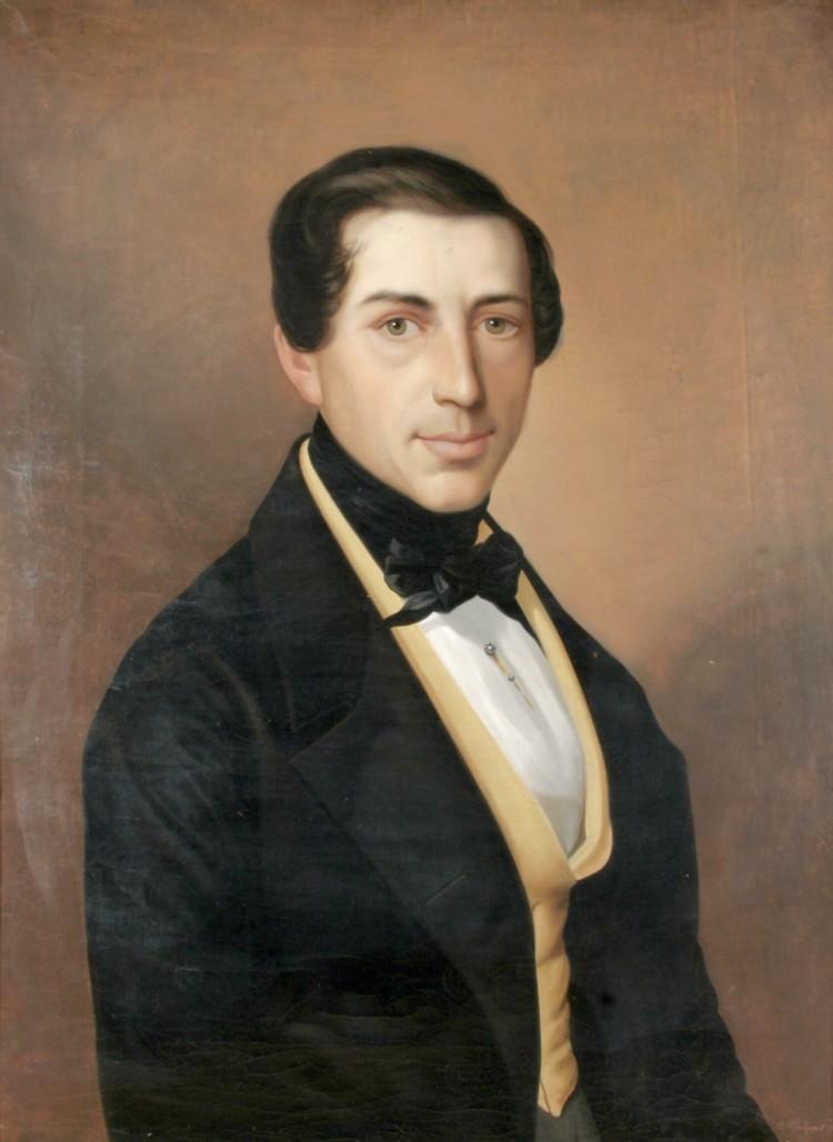 Ch. L. Philippot: Portrét měšťana, olejomalba, Český Krumlov, 1843