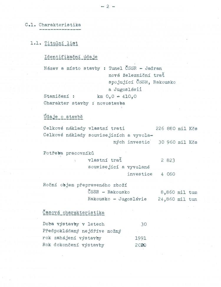 14_Tunel ČSSR-Adria - úvodní list ekonomické rozvahy_1979