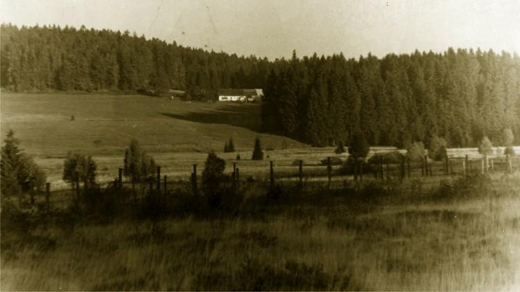 11. Pohraniční drátěné zátarasy v úseku Růžový Vrch, kudy se Jan Král pokusil přejít  do Rakouska 16. 10. 1954.