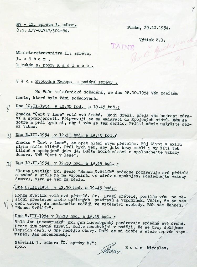 10. Jan Král využíval Rádio Svobodná Evropa, jehož prostřednictvím posílal příbuzným pod krycími jmény vzkazy.