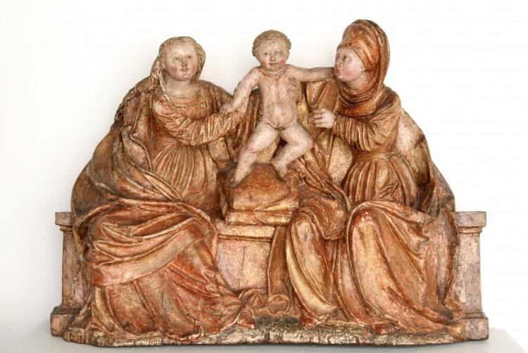 Sv. Anna samatřetí, dřevo, Velislavice, kolem roku 1520