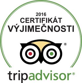 Tripadvisor certifikát výjimečnosti - vítěz 2016