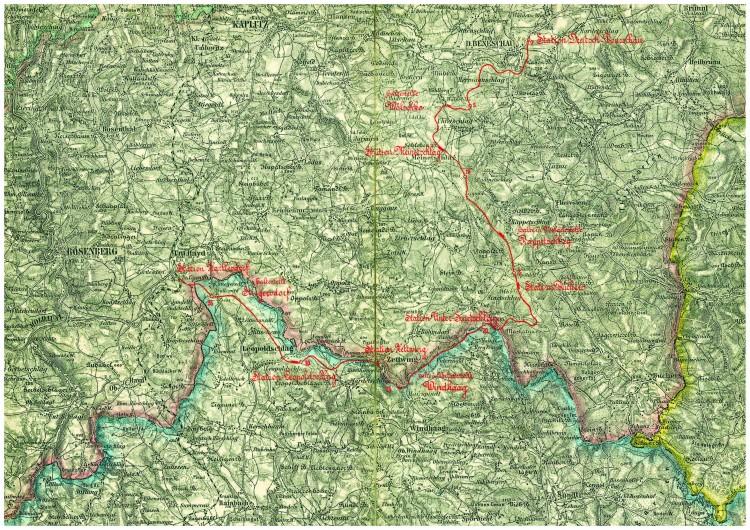 3_Návrh lokální železnice Benešov nad Česrnou-Rybník_1911