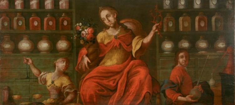 Vývěsní štít: F. J. Prokyš, deskový obraz, kolem roku 1770