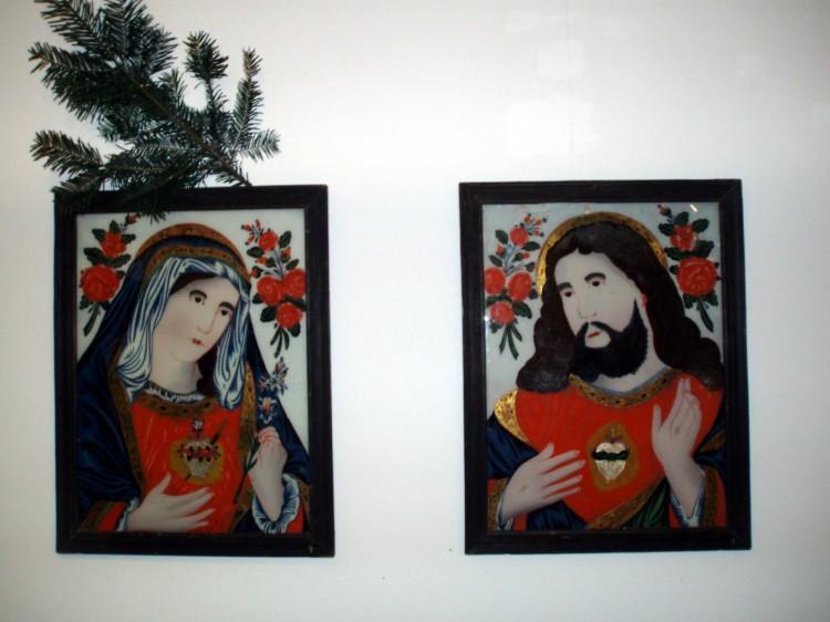 Srdce Mariino a Srdce Ježíšovo - podmalby na skle.