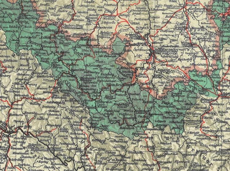 Mapa pohraničí Českokrumlovska