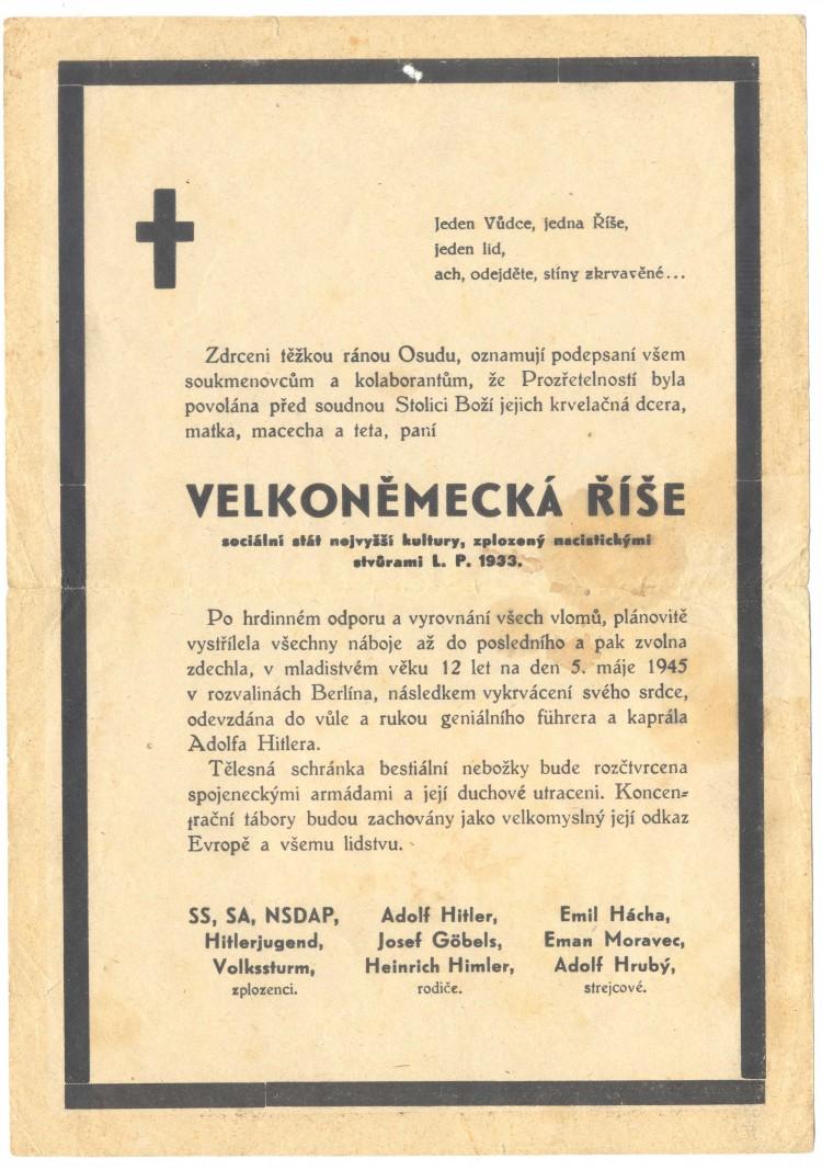 Posměšné úmrtní oznámení Velkoněmecké říše, 1945